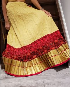 Crushed Cotton Cream Coloured Skirt with Red and Golden Border