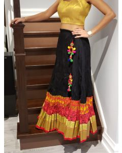 Black Cotton Crushed Party Skirt with Red and Golden Border