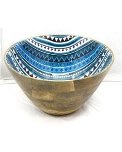 Beautiful Wooden Bowl in Blue Design