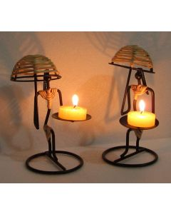 Decorative Unique Umbrella Lady Candle Holder/Candle Stand/Candles Tea Light Holder for Home Decor Set of 2