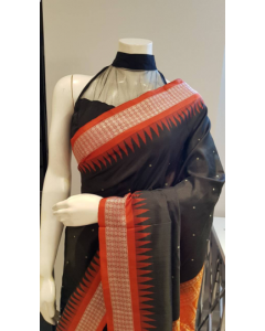 Hand woven Pure Silk Orissa Bomkai Saree in Black Color with Orange Border and Pallu