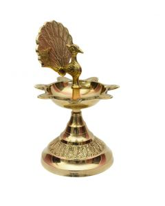 Oil Lamp || Diya || Deepak with Peacock -in Brass Material- Handcrafted and Traditionally Designed Brass Diya
