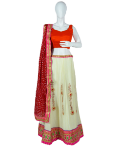 Indian Party wear Off White Lehenga  Choli with Gotta Patti work and Bandhini Dupatta with Free Shipping