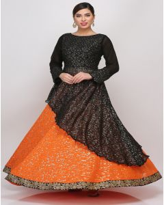orange black Lehenga set