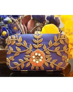 Hand Embroidered Blue color Party Clutch