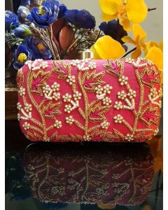 Pink Colour Hand Embroidered Party Clutch
