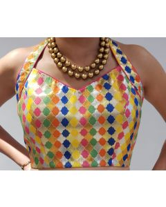 Multicoloured Stitched Brocade Saree  Blouse with Free Shipping