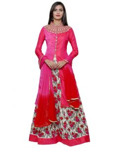 Indian  Party Wear Magenta Color Full Floral Embroidery Satin Silk Lehenga with long Jacket