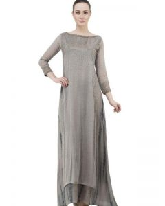Stylish Indo Western Beige Color Long Gown in Crepe for Women