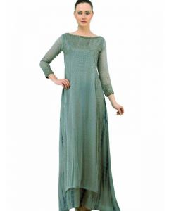 Georgette beautiful Gold and Silver Crystal embroidered , full sleeve Indian Kurta is suitable for any special occasion