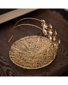 Small Round Wire Basket with Flower Handles (Metal, 12x10-inches