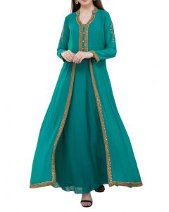 Sea Green Georgette  Long Party Indo Western  Gown  with Gold Kundan Work in Extra Large Size