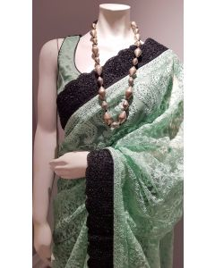 green-net-black-saree