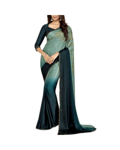 2 Tone  Green  Satin Saree with Embellishments and Stitched Blouse