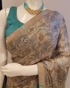 Grey and Turquoise Printed Saree with Stitched Blouse and Free Shipping