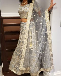 Beautiful Grey Gotta Patti Stitched Lehenga for Indian Wedding