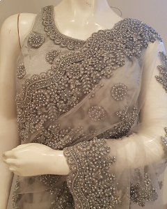 Light Steel Grey Net Saree with Thread and Crystal Work for Indian Wedding Party