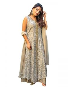 Stylish Thread Embroidered Long Top with Plazzo in Beige Tone