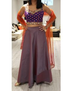 Indian Party Wear Beautiful Purple Silk Skirt with Brocade Hand Embroidered Choli (Croptop) with Rust net dupatta and Free Shipping