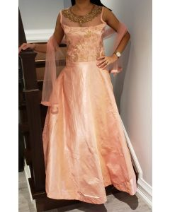 Indian Long Gown in Pink Colour with Embroidery on Neckline for a Wedding party