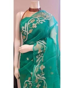 Beautiful Muslin Jamdani  saree in light green colour