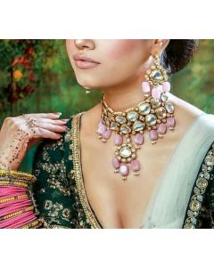 Bridal Choker Style Polki Necklace Gold Plated Set