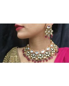 Handcrafted Bridal  Polki Necklace Gold Plated Set  with Semi Precious Ruby Stone