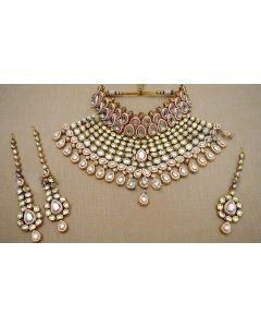 Choker Style Bridal Gold Plated Kundan Necklace Set