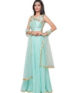 Indian Pista Green Georgette Lehenga Gown with Croptop or Choli