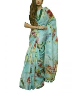 Linen Floral Printed Saree in Pastel Green colour