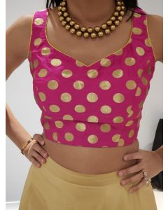 Pink color all over Zari Dots Silk Brocade  Croptop/Blouse