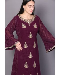 Maroon Georgette  Long Double Layered Party Gown  with Gold Kundan Work  for Women