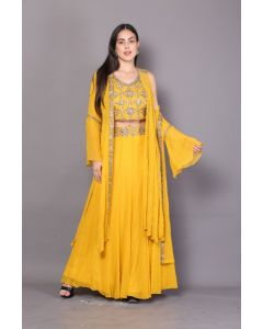 Indo Western Mustard Georgette Embroidered Plazzo Set with Jacket