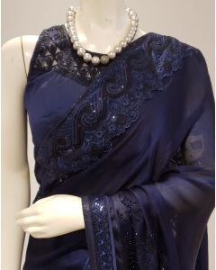 Navy Blue Georgette  Saree with Cutwork Border and Stitched Blouse with Free Shipping