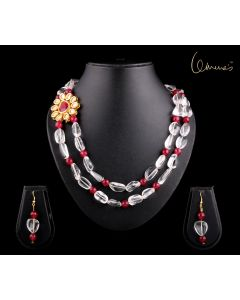 Necklace Sphatik with pink agate and Kundan side pendant