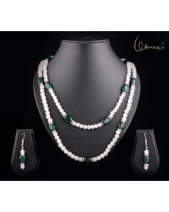 Rose Quartz and Green jade ovals , necklace and earring set