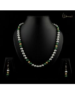 Grey and Green Swarovski Pearls with Gold and  Diamond Beads