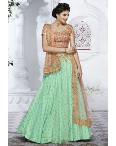 Indian Heavy Party Wear Green Color Net Lehenga  Gown with Golden Thread Embroidery and Pink silk Croptop with Net Dupatta