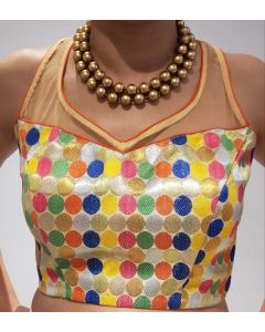 Multi color Stitched Brocade Saree Blouse with Free Shipping