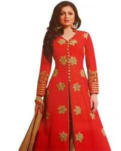 Indian Heavy Party wear Orange and Beige Color Silk Long jacket with Lehenga