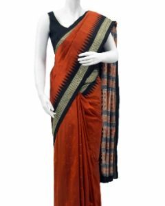 Hand woven Pure Silk Orissa Bomkai Saree in Rust Color with Black Border and Pallu