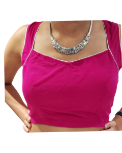 Magenta Pink Lycra Sari Croptop/ Blouse with a Silver Broach on the back