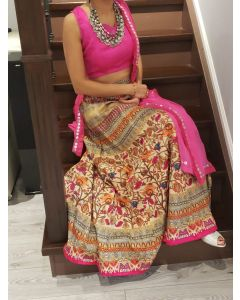 Indian  Party Wear Magenta Color Floral Faux Silk Lehenga with Free Shipping
