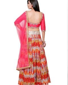 Multi Color Cotton Satin Indian  Lehenga with Mirror Embroidery Faux Silk Choli