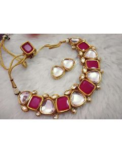 Indian Polki Necklace in Ruby and off White Colour with Earrings