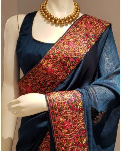 Beautiful Faux Silk Prussian  Blue  Saree with Kashmiri Embroidery Work