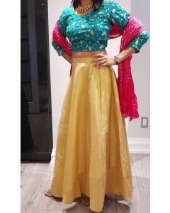 Indian Party Wear Beautiful Golden Silk Skirt with Green Choli (Crop Top) with Bandhini Silk dupatta and Free Shipping