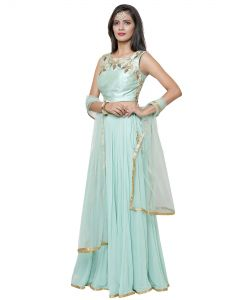 Indian Pista Green Georgette Lehenga Gown with Croptop  and  Free shipping
