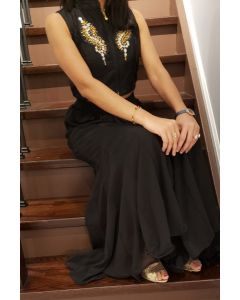 Black Color Georgette Palazzo with matching Crop Top