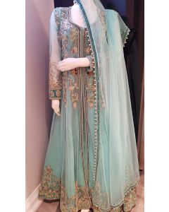 Hand Embroidered Bridal  Dress in Light Turquoise Colour Long Top with Net Jacket and  Dupatta